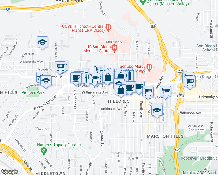 map of restaurants, bars, coffee shops, grocery stores, and more near 3972 Albatross Street in San Diego