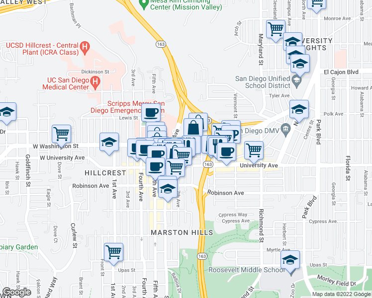 map of restaurants, bars, coffee shops, grocery stores, and more near 3980 8th Avenue in San Diego
