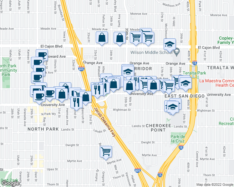 map of restaurants, bars, coffee shops, grocery stores, and more near University Ave & Swift Ave in San Diego