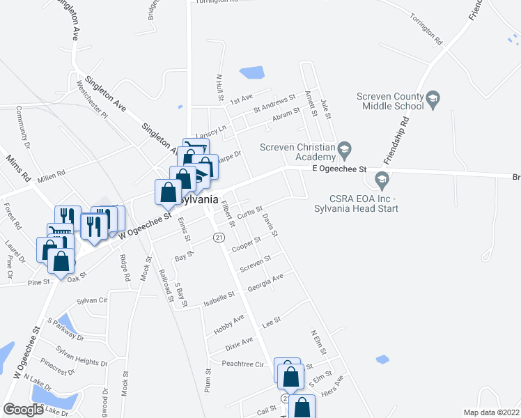 map of restaurants, bars, coffee shops, grocery stores, and more near Davis Street in Sylvania