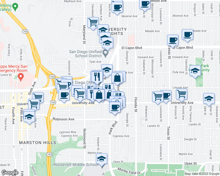 map of restaurants, bars, coffee shops, grocery stores, and more near 3979 Centre St in San Diego