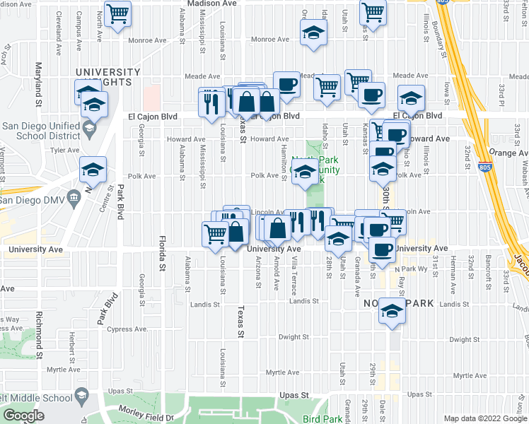 map of restaurants, bars, coffee shops, grocery stores, and more near Lincoln Avenue in San Diego