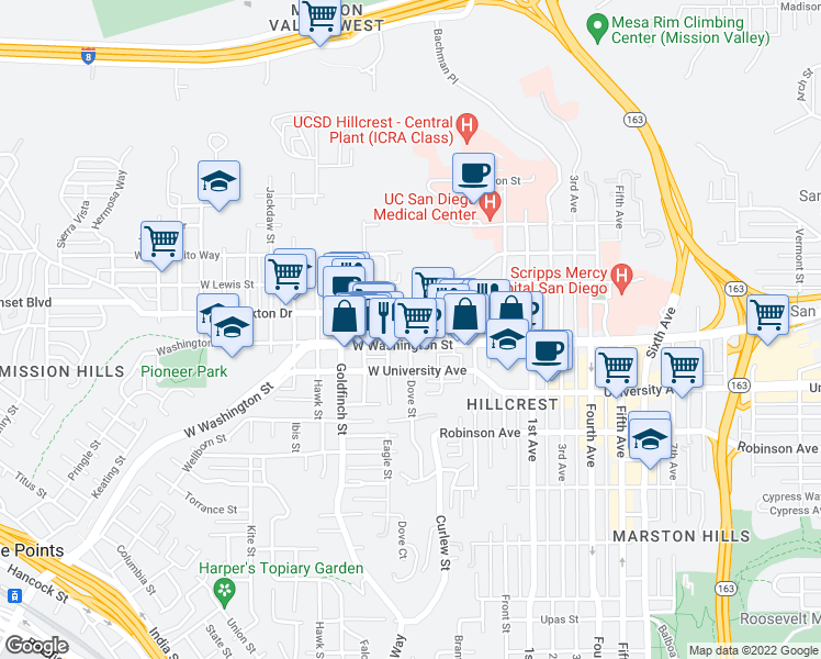 map of restaurants, bars, coffee shops, grocery stores, and more near Dove Street in San Diego