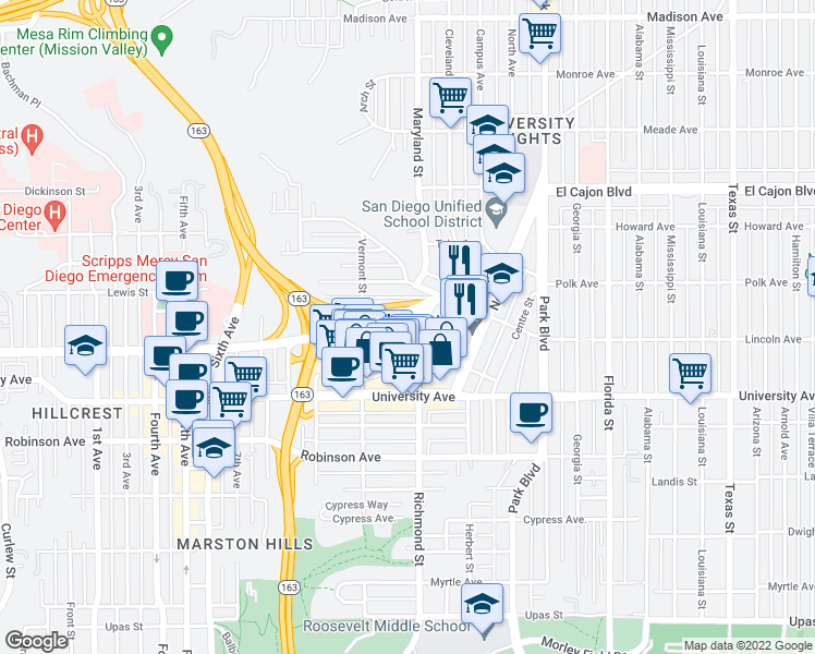 map of restaurants, bars, coffee shops, grocery stores, and more near 1270 Cleveland Avenue in San Diego