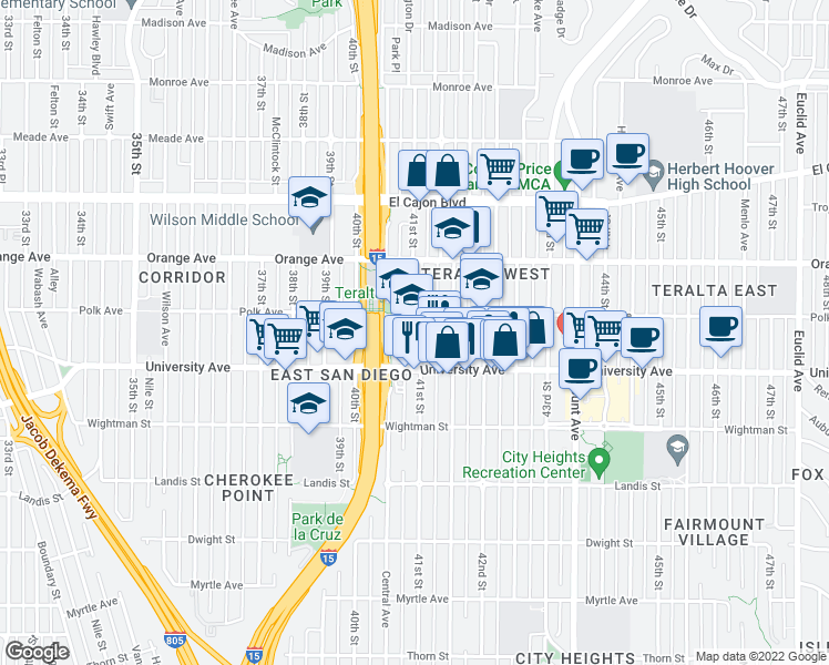 map of restaurants, bars, coffee shops, grocery stores, and more near 4135 Polk Avenue in San Diego