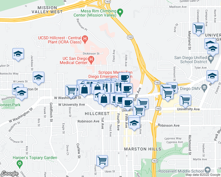 map of restaurants, bars, coffee shops, grocery stores, and more near 4057 1st Avenue in San Diego