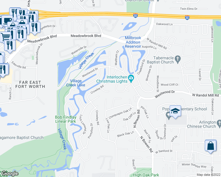 map of restaurants, bars, coffee shops, grocery stores, and more near 2903 Lucern Court in Arlington
