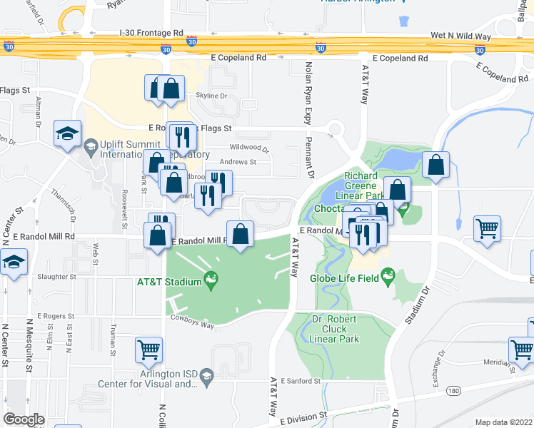 map of restaurants, bars, coffee shops, grocery stores, and more near 1249 Enclave Circle in Arlington