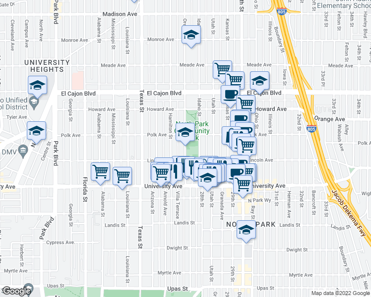 map of restaurants, bars, coffee shops, grocery stores, and more near 4041 Oregon Street in San Diego
