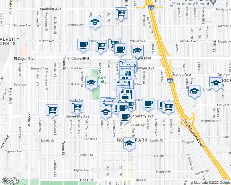 map of restaurants, bars, coffee shops, grocery stores, and more near 4044 Kansas Street in San Diego