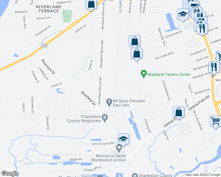 map of restaurants, bars, coffee shops, grocery stores, and more near 406 Stefan Drive in Charleston