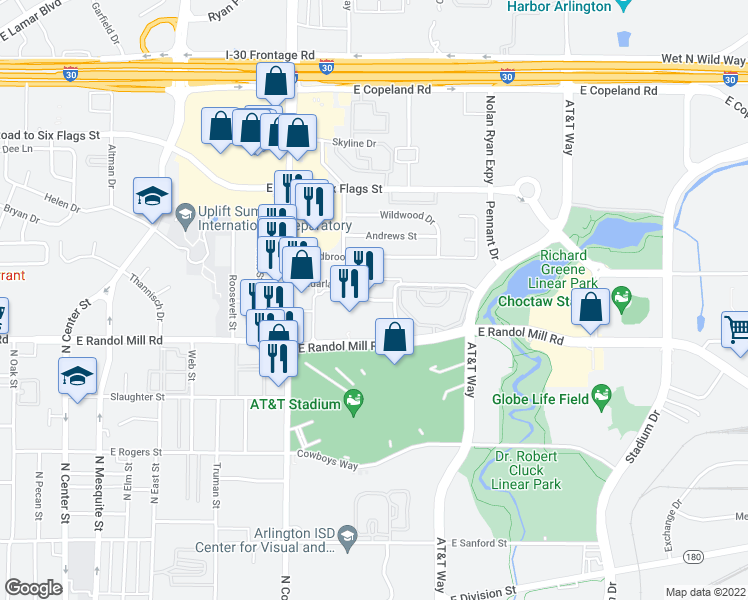 map of restaurants, bars, coffee shops, grocery stores, and more near 1100 Red Cedar Lane in Arlington