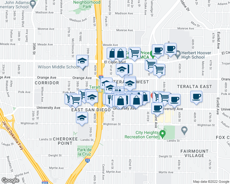 map of restaurants, bars, coffee shops, grocery stores, and more near 4104 Polk Avenue in San Diego