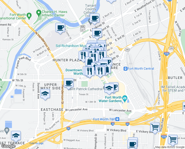 map of restaurants, bars, coffee shops, grocery stores, and more near 100 Energy Way in Fort Worth