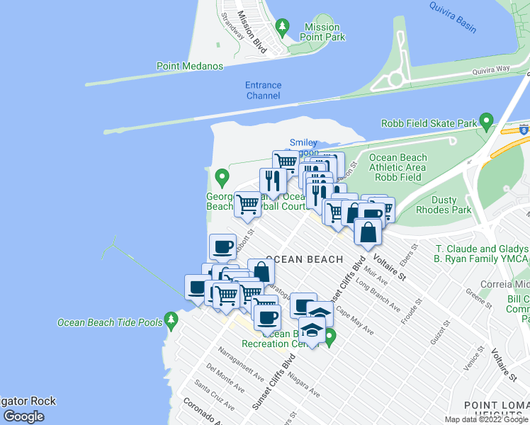 map of restaurants, bars, coffee shops, grocery stores, and more near Long Branch Avenue & Abbott Street in San Diego