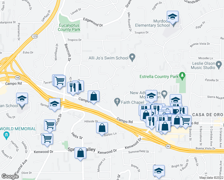 map of restaurants, bars, coffee shops, grocery stores, and more near 9435 Showplace Drive in La Mesa