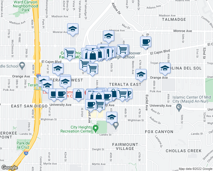 map of restaurants, bars, coffee shops, grocery stores, and more near 4137 Highland Avenue in San Diego