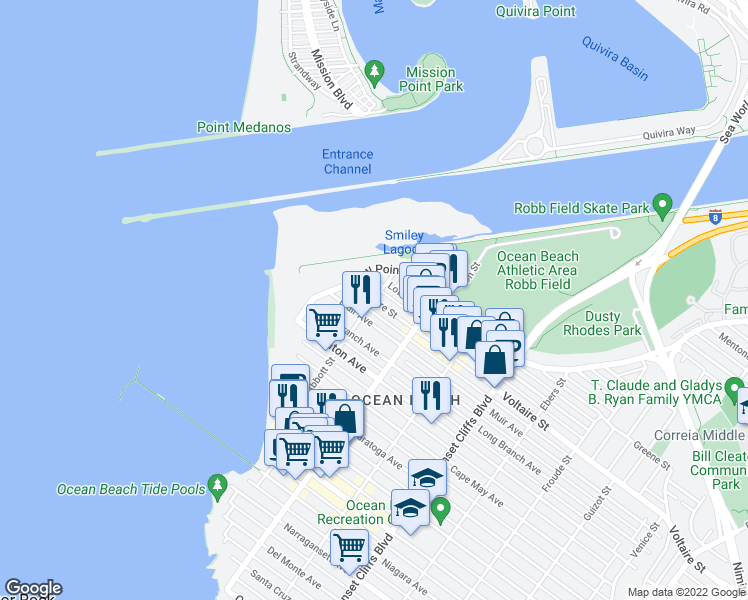 map of restaurants, bars, coffee shops, grocery stores, and more near 5101 Voltaire Street in San Diego