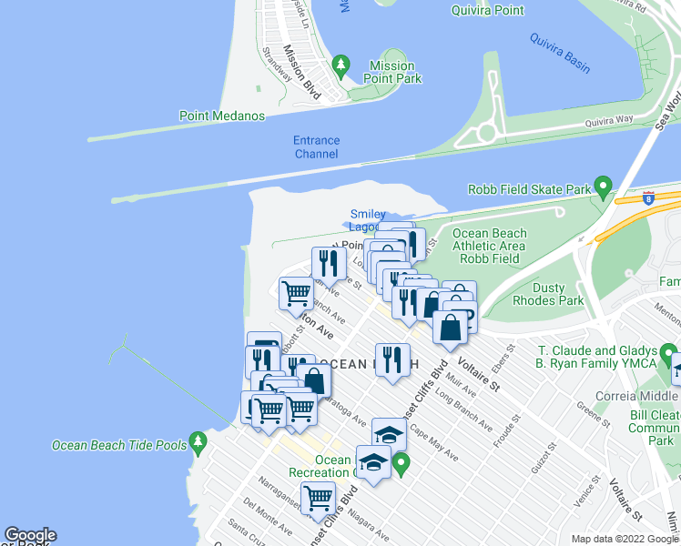 map of restaurants, bars, coffee shops, grocery stores, and more near Voltaire Street & Abbott Street in San Diego