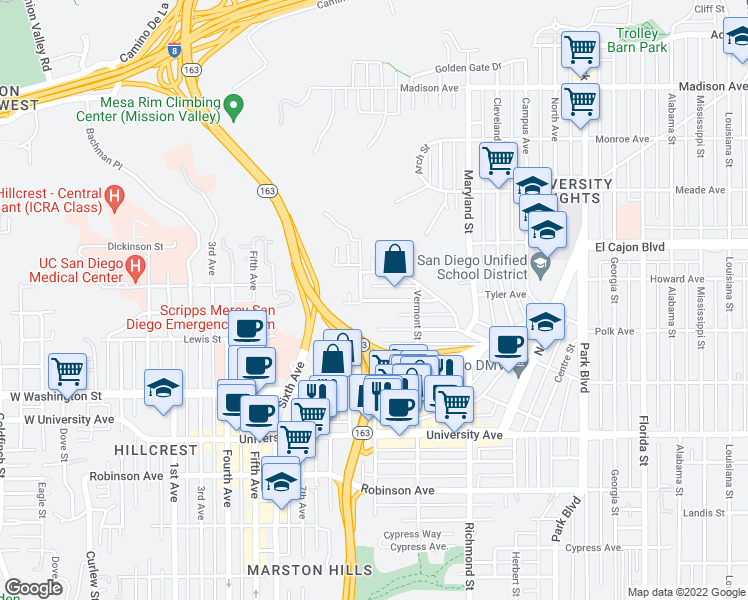map of restaurants, bars, coffee shops, grocery stores, and more near Hayes Avenue in San Diego