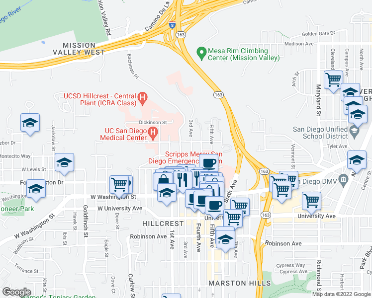 map of restaurants, bars, coffee shops, grocery stores, and more near 4209 3rd Avenue in San Diego