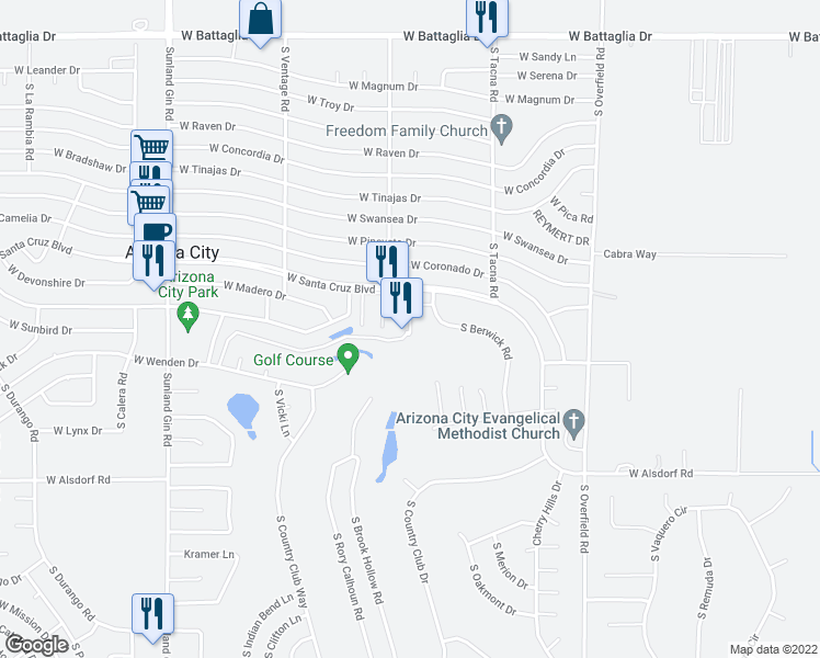 map of restaurants, bars, coffee shops, grocery stores, and more near 8815 W Avenida De Amigos Circle in Arizona City