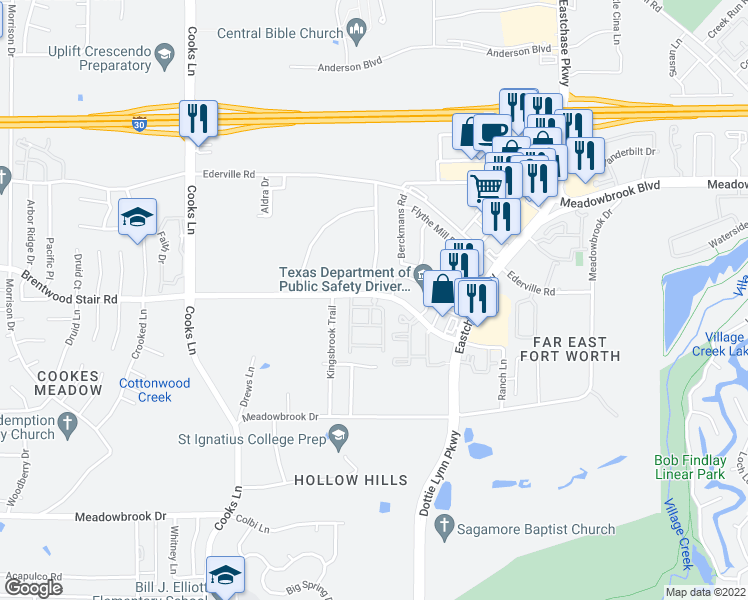 map of restaurants, bars, coffee shops, grocery stores, and more near 8200 Brentwood Stair Road in Fort Worth