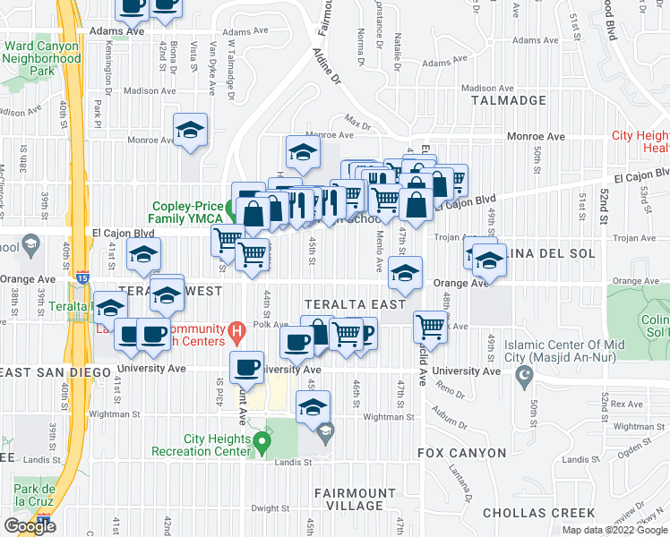 map of restaurants, bars, coffee shops, grocery stores, and more near 4232 46th Street in San Diego