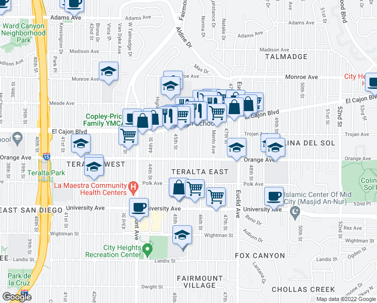 map of restaurants, bars, coffee shops, grocery stores, and more near 4244-4246 Chamoune Avenue in San Diego