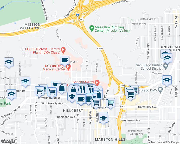 map of restaurants, bars, coffee shops, grocery stores, and more near 325 Arbor Drive in San Diego