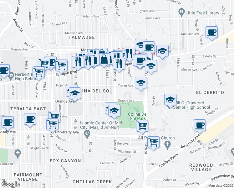 map of restaurants, bars, coffee shops, grocery stores, and more near 4260 52nd Street in San Diego