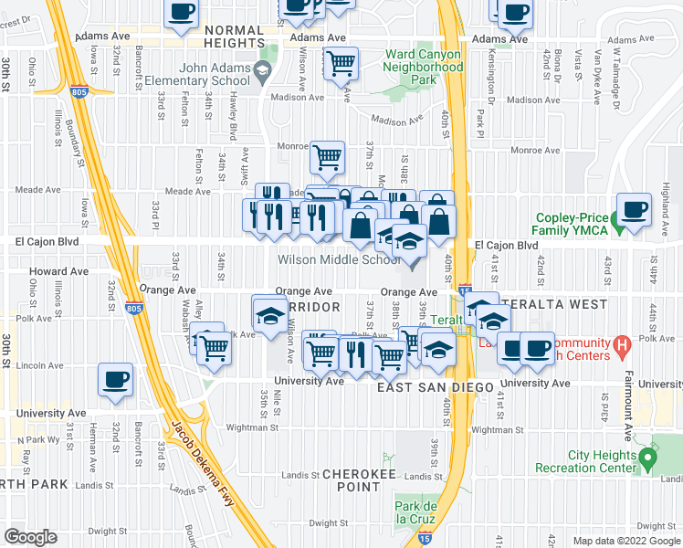 map of restaurants, bars, coffee shops, grocery stores, and more near 4233 Cherokee Avenue in San Diego