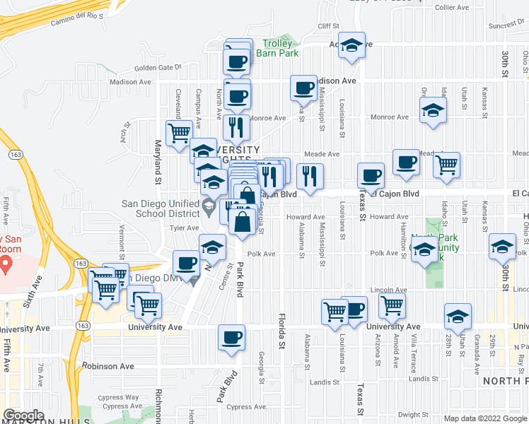 map of restaurants, bars, coffee shops, grocery stores, and more near 4219 Georgia Street in San Diego