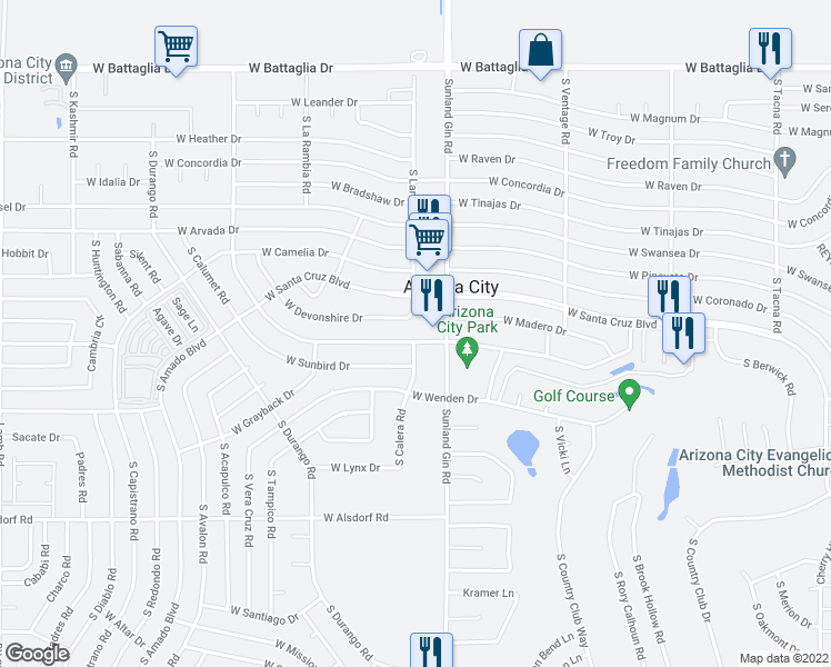 map of restaurants, bars, coffee shops, grocery stores, and more near 9744 West Century Drive in Arizona City