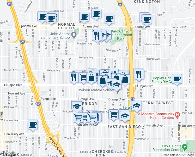 map of restaurants, bars, coffee shops, grocery stores, and more near 4343 Cherokee Avenue in San Diego