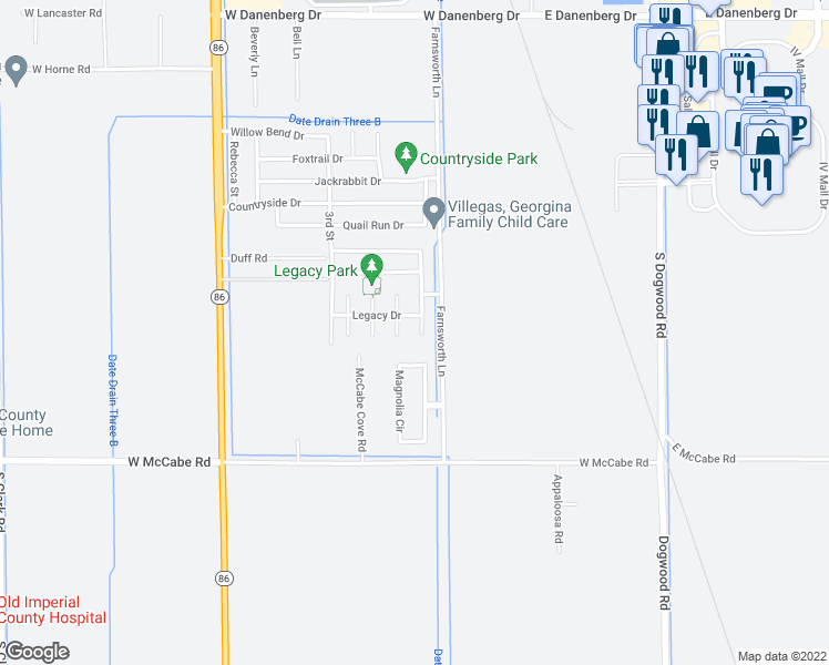 map of restaurants, bars, coffee shops, grocery stores, and more near 3976 Rubert Franks Drive in El Centro