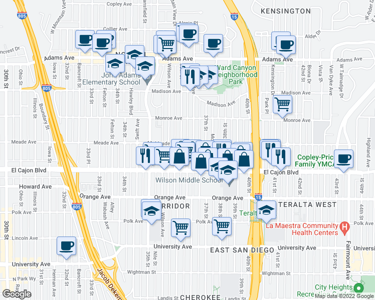 map of restaurants, bars, coffee shops, grocery stores, and more near 3683 Meade Avenue in San Diego