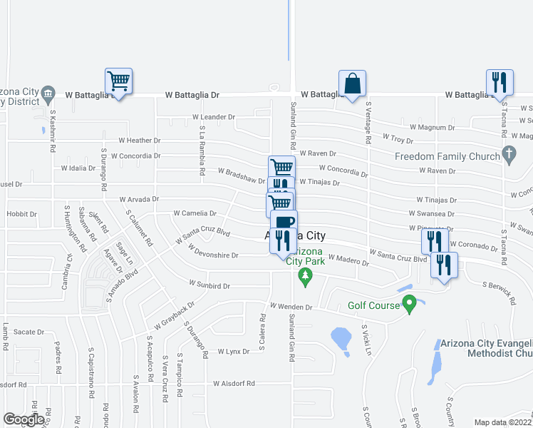 map of restaurants, bars, coffee shops, grocery stores, and more near 9771 West Arvada Drive in Arizona City