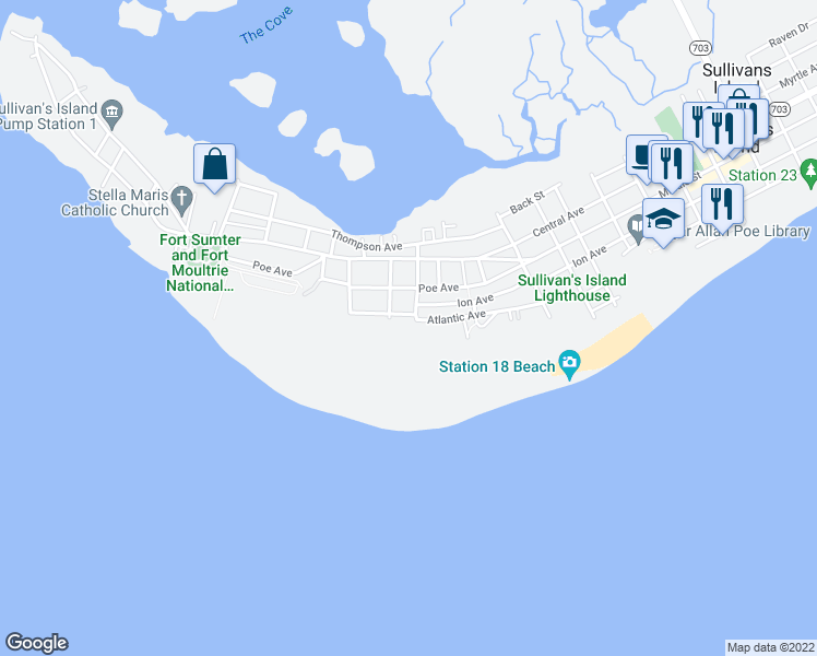 map of restaurants, bars, coffee shops, grocery stores, and more near 1659 Atlantic Avenue in Sullivan's Island