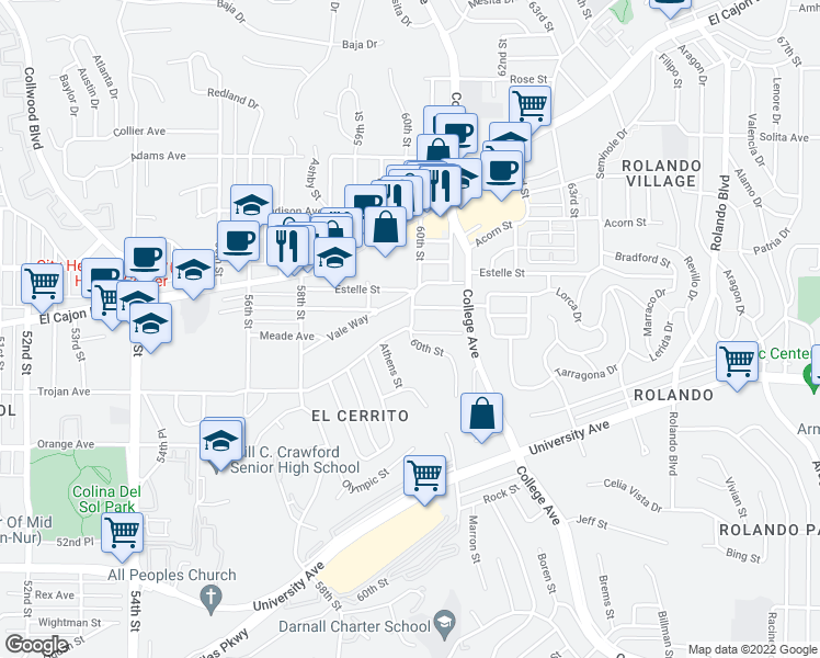 map of restaurants, bars, coffee shops, grocery stores, and more near 60th St & Meade Ave in San Diego