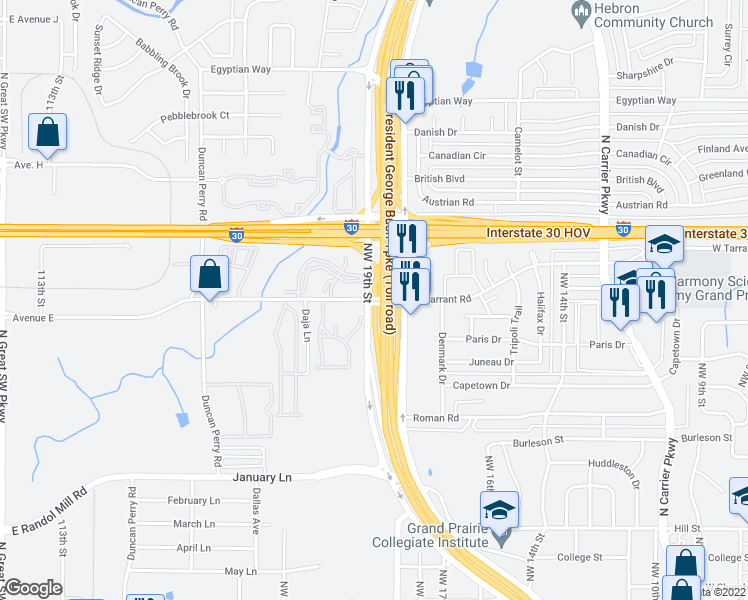 map of restaurants, bars, coffee shops, grocery stores, and more near President George Bush Turnpike in Grand Prairie