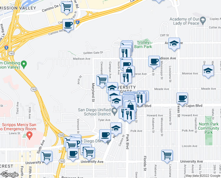 map of restaurants, bars, coffee shops, grocery stores, and more near Meade Avenue & Campus Avenue in San Diego