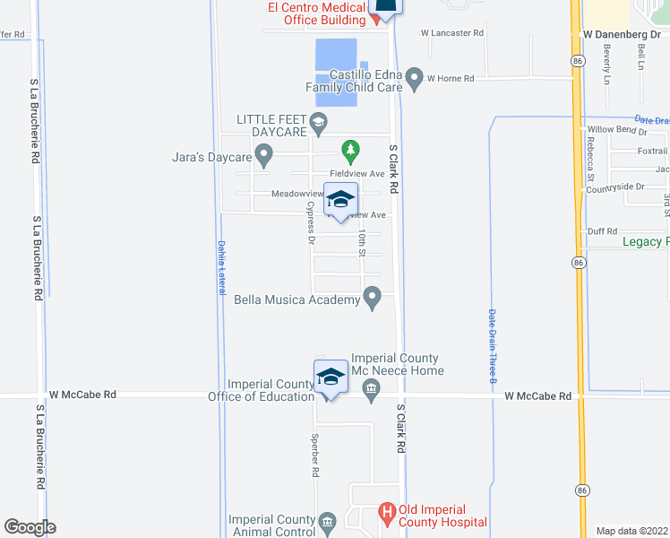 map of restaurants, bars, coffee shops, grocery stores, and more near 1102 Desertview Avenue in El Centro