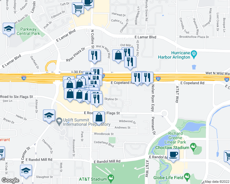 map of restaurants, bars, coffee shops, grocery stores, and more near 1516 Arbor Town Circle in Arlington