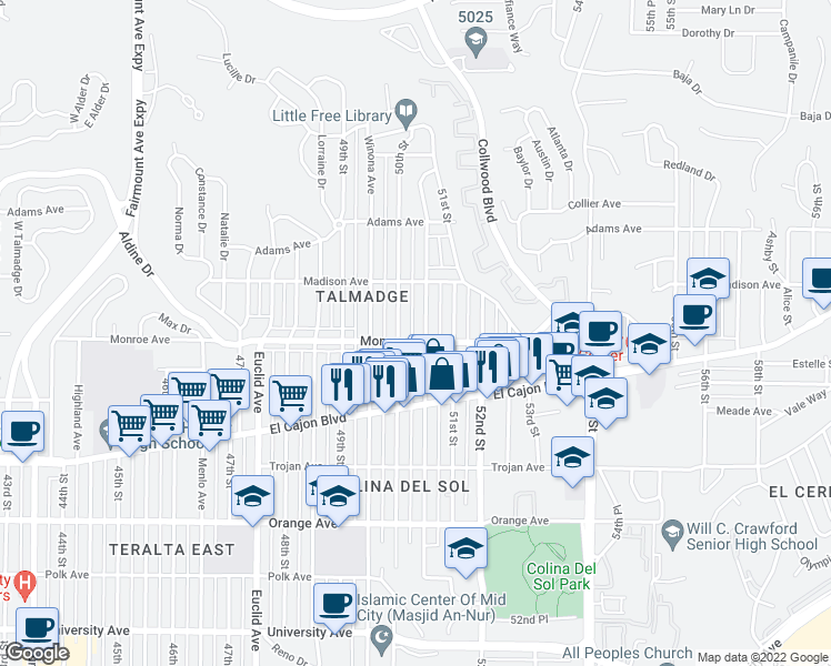 map of restaurants, bars, coffee shops, grocery stores, and more near 4512 Altadena Avenue in San Diego