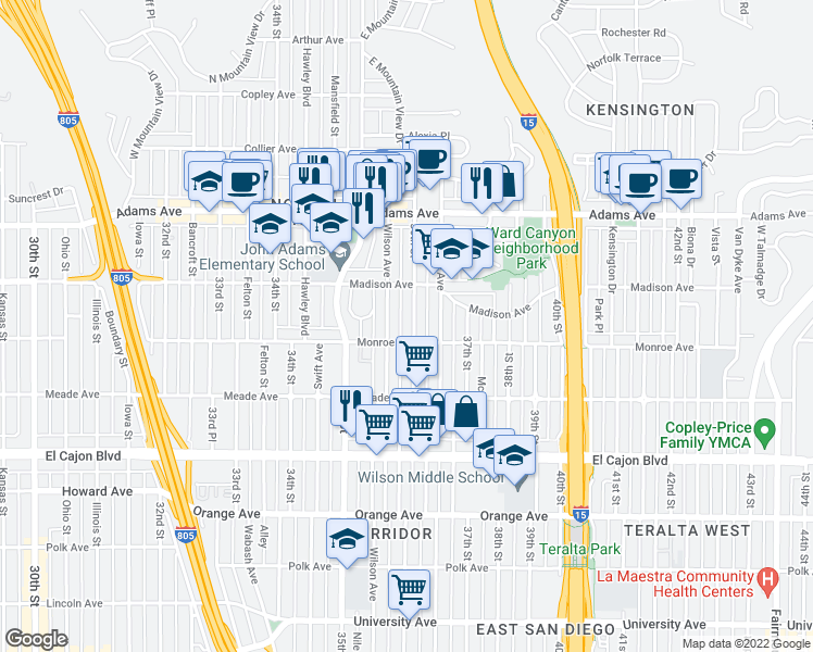 map of restaurants, bars, coffee shops, grocery stores, and more near 4520 36th Street in San Diego
