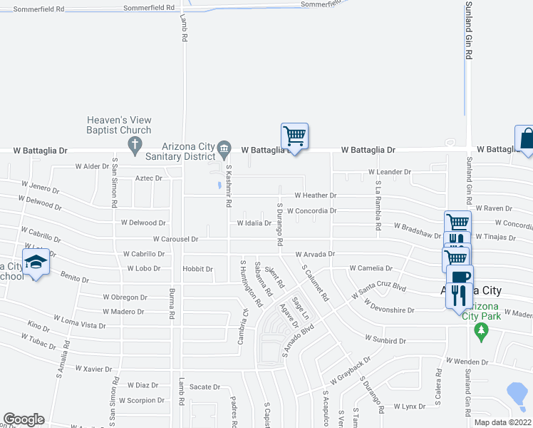 map of restaurants, bars, coffee shops, grocery stores, and more near 13211 South Kin Circle in Arizona City