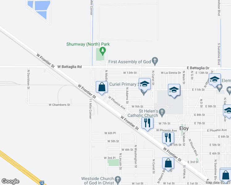 Map Of Eloy Arizona.1003 North Jefferson Street Eloy Az Walk Score