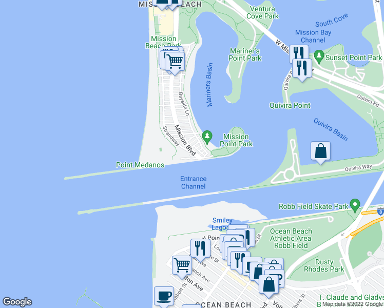 map of restaurants, bars, coffee shops, grocery stores, and more near 2595 Ocean Front Walk in San Diego