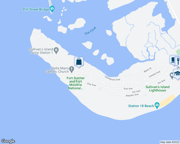 map of restaurants, bars, coffee shops, grocery stores, and more near 1320 Thompson Avenue in Sullivan's Island